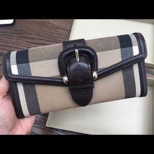 BURBERRY Canvas House Check Continental Wallet